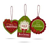 Set of three vintage christmas sale labels. Isolated on white background. Vector illustration royalty free illustration