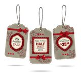 Set of three vintage christmas sale labels. On white background. Vector illustration royalty free illustration