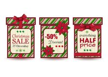 Set of three vintage christmas sale labels. On white background.Vector illustration stock illustration