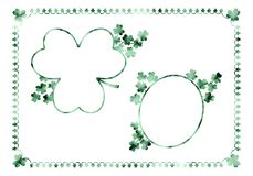 Set of three vintage frames with green marble shamrocks. vector illustration