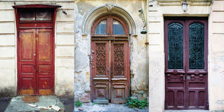 set of three vintage red doors Stock Images
