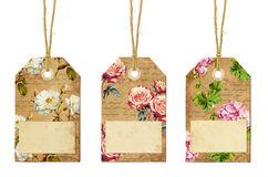 Set of three vintage tags with flowers Royalty Free Stock Photo
