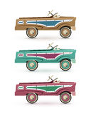 Set of three vintage, toy pedal car. Royalty Free Stock Photography