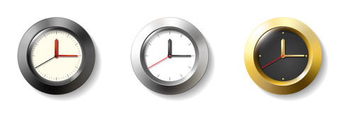Set of three wall clock Royalty Free Stock Images