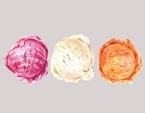 Set of three watercolor balls ice cream
