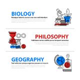 Set of three web banners about education and college subjects in flat illustration style. Biology, philosophy and geography. Set of three web banners about Royalty Free Stock Images