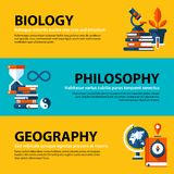 Set of three web banners about education and college subjects in flat illustration style. Biology, philosophy and geography. Set of three web banners about Royalty Free Stock Photos