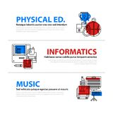 Set of three web banners about education and college subjects in flat illustration style. On colorful background. Physical education, computer science and music Stock Photography
