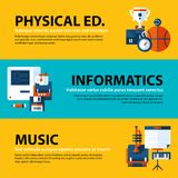 Set of three web banners about education and college subjects in flat illustration style. On colorful background. Physical education, computer science and music Stock Photos