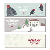 Set of three website horizontal winter banners royalty free illustration