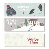 Set of three website horizontal winter banners Royalty Free Stock Image