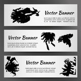 Set of Three White Banners with Inkblots. Vector illustration EPS10 stock illustration