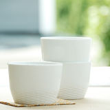 Set of three white bowls Stock Images