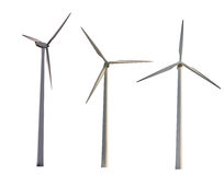 Set of three wind power generators isolated on white Royalty Free Stock Images