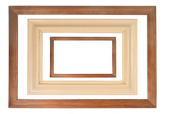 Set of three wooden frames Stock Images