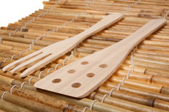Set of three wooden kitchenware Royalty Free Stock Photography