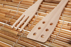Set of three wooden kitchenware Stock Photo