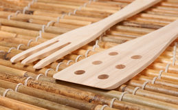 Set of three wooden kitchenware Royalty Free Stock Photos
