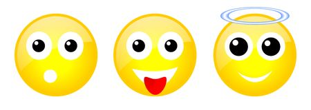 Set of emoticons. Set of three yellow emoticons with face Stock Photography