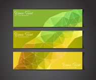 Set of three yellow geometric banners Royalty Free Stock Photo
