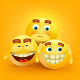 Set of three yellow smiley faces concept card Royalty Free Stock Images