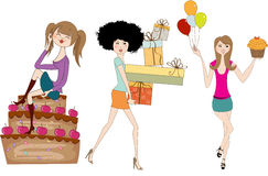 Set of three young girls at birthday party Stock Image