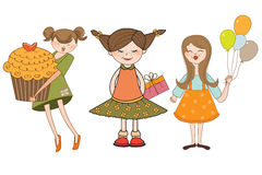 Set of three young girls with gifts Stock Photography