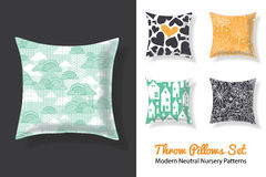 Set Of Throw Pillows With Matching Unique Neutral Nursery Repeat Patterns Prints Featuring Hearts, Houses, Stars, Trees. Square Shape. Editable Vector royalty free illustration
