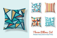 Set Of Throw Pillows In Matching Unique Vintage Abstract Geometric Triangles Seamless Patterns. Square Shape. Editable Stock Photo