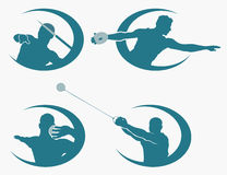 Set of throwing sports symbols Stock Image