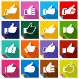 Set of 16 Thumbs up. On squares stickers with bent colored angles vector illustration