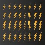 Set of thunder flashes dark background vector royalty free illustration