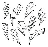 Set of thunderbolt in doodle style vector illustration royalty free illustration