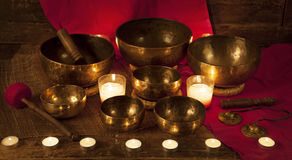 Set of Tibetan singing bowls and bells Royalty Free Stock Photo