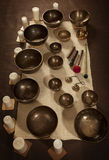 Set of Tibetan singing bowls Stock Photo