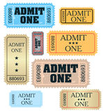Set of ticket admit one  Royalty Free Stock Images