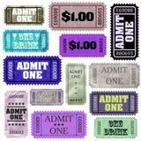 Set of ticket admit one. EPS 8 Stock Photo