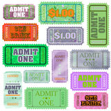 Set of ticket admit one. EPS 8 Stock Photography