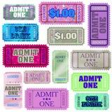 Set of ticket admit one. EPS 8 Stock Photos