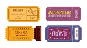 Set tickets and coupons in theater, cinema, circus, amusement park Stock Image