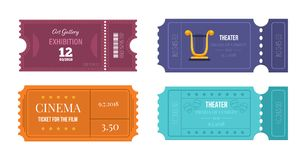 Set of tickets on various events: theater, cinema, art gallery. Set of tickets on various events: theater, cinema, art gallery, access in room. Entertainment Royalty Free Stock Photos