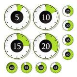 set tidmätarevektor för green stock illustrationer