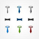 Set of a tie and bow icons Royalty Free Stock Photography