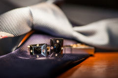 Set of tie and cufflinks Royalty Free Stock Photos