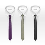 Set of Tied Striped Colored Silk and Bow Ties Vector Royalty Free Stock Photo