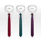 Set of Tied Striped Colored Silk and Bow Ties Vector Royalty Free Stock Photos