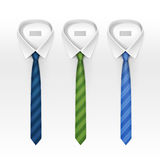 Set of Tied Striped Colored Silk and Bow Ties Vector Royalty Free Stock Images