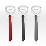 Set of Tied Striped Colored Silk Ties and Bow Collection Stock Images