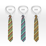 Set of Tied Striped Colored Silk Ties and Bow Collection  Royalty Free Stock Photos