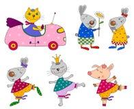 Set Tiere. Zeichentrickfilm-Figuren Stockbilder